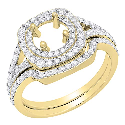 0.80 Carat (ctw) 10K Round Diamond Ladies Semi Mount Ring Set 3/4 CT, Yellow Gold, Size ()