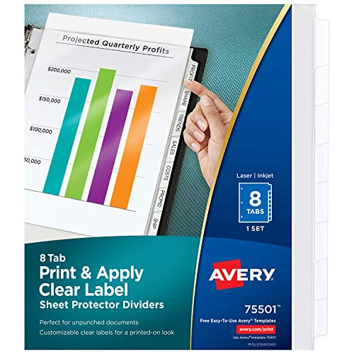 Avery 8-Tab Sheet Protectors Dividers, Printable Easy Peel Clear Labels, Index Maker, White Tabs, 1 Set (75501) - Sheet Tabbed Protectors