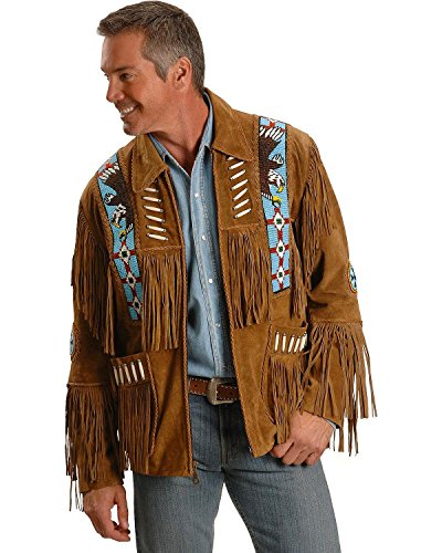 Fringed Suede Leather (Liberty Wear Men's Eagle Bead Fringed Suede Leather Jacket Tobacco Large)