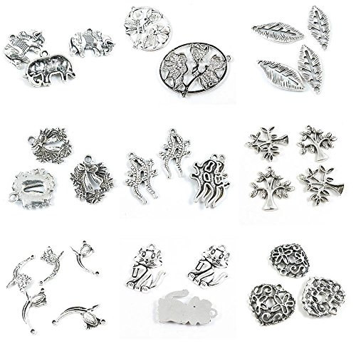 30 PCS Jewelry Making Charms Hollow Heart Cat Kitten Rose Flower Life String Tree Oak Gecko Lizard Wreath (Wreath Charm Heart)