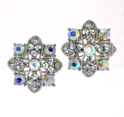 Clear Crystal Flower Stud Earrings - Aurora Borealis/Clear