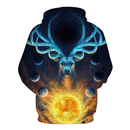 Celestial by JoJoes Art Magic Deer,Hooded Sweatshirts Men Women,3D Hoodies Printed Novelty Pullover Funny Tracksuit by Francis4 (Image #1)