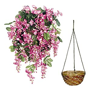 3′ Artificial Wisteria Hanging Flower Bush + Hanging Basket (10″ Diameter) with Styrofoam