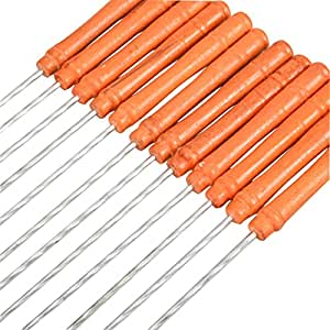 BBQ Skewers - All4you 12pcs Roasting Sticks Metal Barbeque iron Skewers Kebab Sticks for Campfire with Wooden Handle