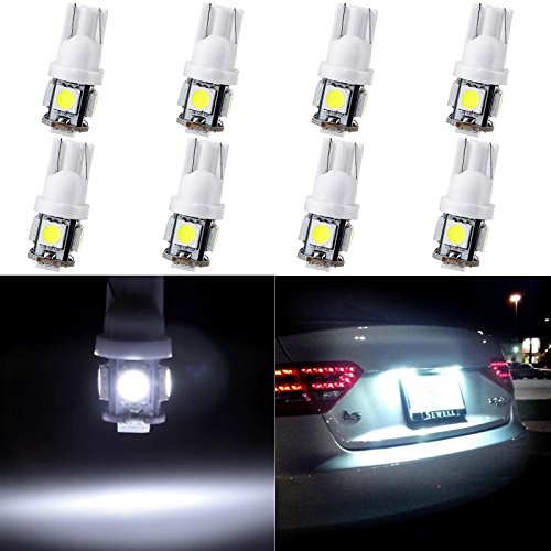 Interior Legend Acura - ECCPP T10 LED Bulbs 194 168 175 2825 W5W Super Bright 12V White LED Bulb 5-5050 SMD License Plate Light Pack of 8