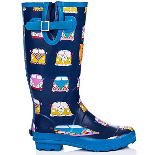 Boots Adjustable Rain Women's Buckle Blue Flat IGLOO Campervan Welly Spylovebuy Geo ZE6qHw01W