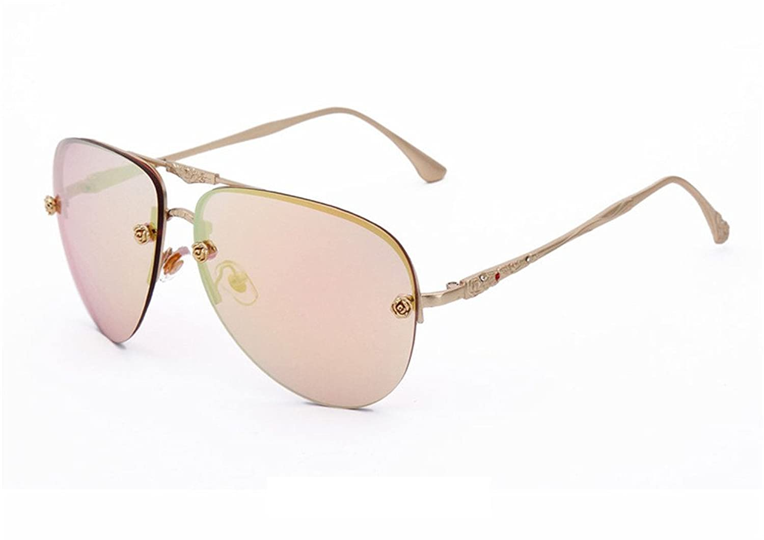 GAMT Mirrored Rimless Aviator Sunglasses Rose Decoration Sunglass