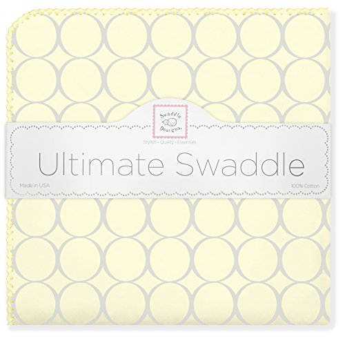 SwaddleDesigns Ultimate Swaddle, X-Large Receiving Blanket, Made in USA Premium Cotton Flannel, Sterling Mod Circles on Sunwashed Yellow (Mom's Choice Award Winner)