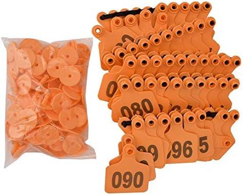 Qiilu 家畜用耳タグ 耳のタグ 動物のタグ 農場用 家畜 管理 プラスチック製 1-100番号付き 羊/豚/牛/ヤギなどの家畜に対応(オレンジ)