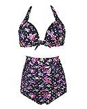Microcosm Solid Black Elegant Vintage High Waisted Bikini Swimsuits Swimwear