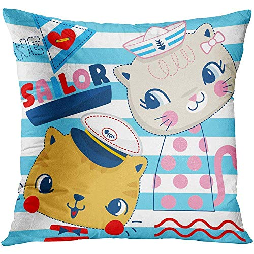 Apanqiqi Throw Pillow Cover Cute Animal Cartoon of Two Cats in Sailor Costumes with Text We Love on Blue and White Striped Funny Decorative Pillow Case Home Decor Square 18x18 Inches Pillowcase