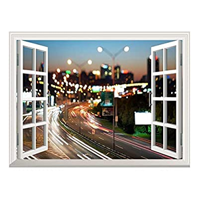 Removable Wall Sticker/Wall Mural - Blurred City Traffic Lights at Night | Creative Window View Wall Decor - 36