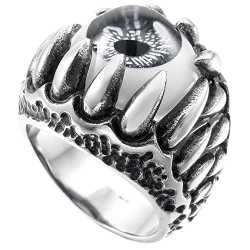 (INBLUE Men's Stainless Steel Ring Silver Tone Black Grey White Skull Dragon Claw Evil Devil Eye Size8)