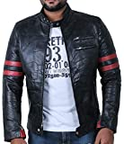 Laverapelle Men's Patch Works Genuine Lambskin Leather Jacket (Black, 2XL, Polyester Lining) - 1901535