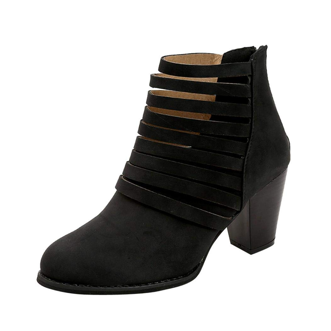 haoricu Winter Clearance Women's Zipper Short Boots Chunky Heels Strappy Ankle Booties