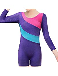 BAOHULU Leotard for Girls Gymnastics Toddler Sparkle Stripes Tank Biketards One Piece
