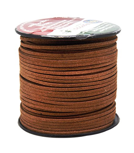 Mandala Crafts 100 Yards 2.65mm Wide Jewelry Making Flat Micro Fiber Lace Faux Suede Leather Cord (Russet Brown) Leather Braiding Supplies