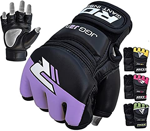 RDX MMA Gloves Kids Grappling Martial Arts Sparring Punching Bag Junior Cage Fighting Youth Maya Hide Leather Mitts Children UFC Combat ()