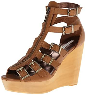 Cynthia Vincent Women's Pacey Leather Gladiator Wedge Sandal,Tobacco,6 M US