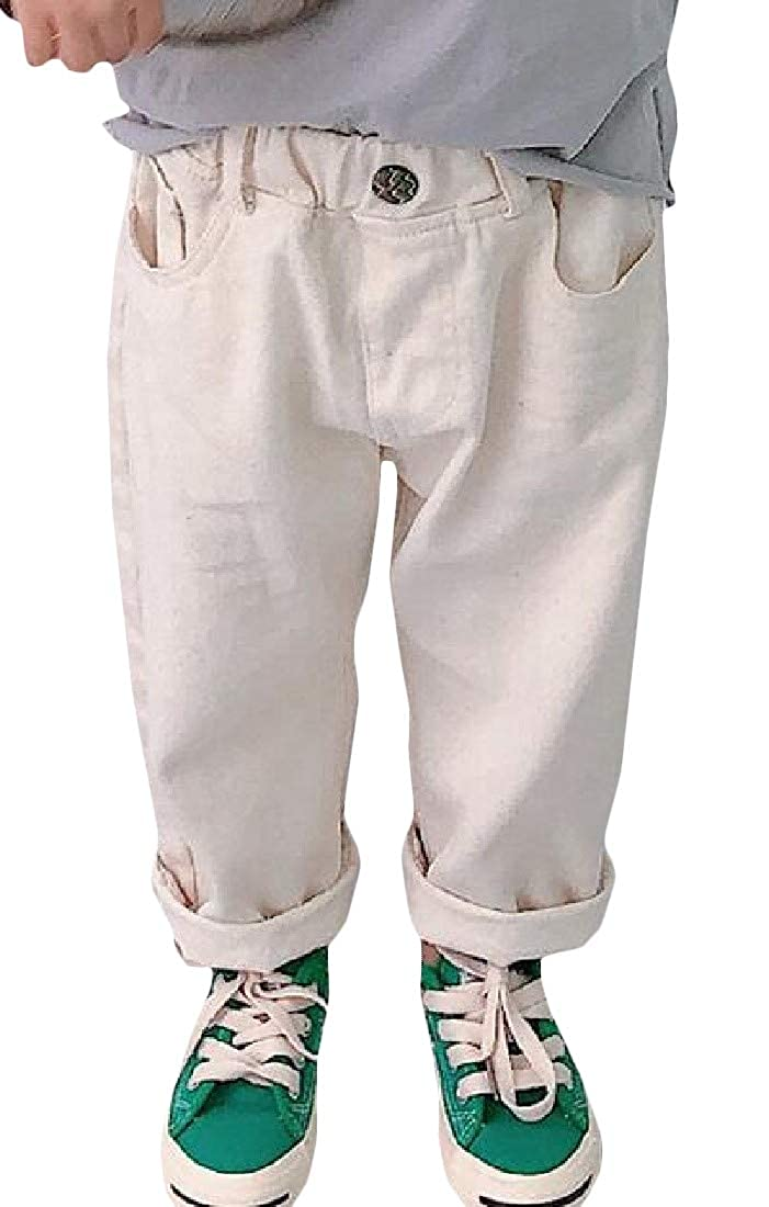 Sweatwater Little Toddler Girls Casual Pure Colour Harem Pull On Waist Straight Pants
