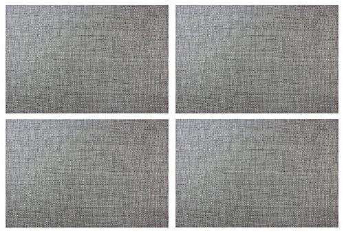 Set of 4 Placemats,Placemats for Table Woven Vinyl Kitchen Placemats,Dining Table Mat Anti-Slip,Heat insulation,Table Mats set of 4 (Gray)