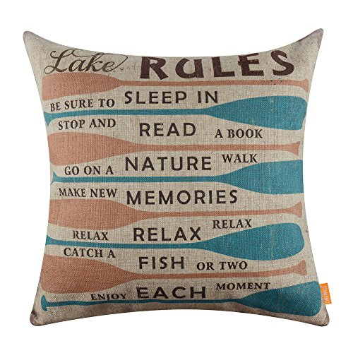 Lake Fish - LINKWELL 18x18 inches Vintage Lake Rules Colorful Oars Burlap Pillow Cover Throw Cushion Cover (CC1276)