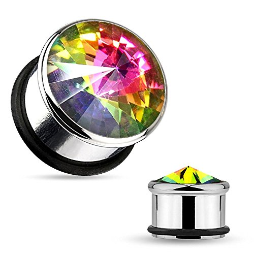 Inspiration Dezigns Rainbow Aurora Borealis Stone 316L Surgical Steel Single Flare Plugs O-Ring - Sold as Pairs (0G)
