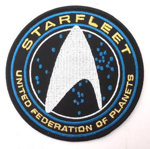 Star Trek Beyond Starfleet UFP Silver Deluxe Military Patch Fabric Embroidered Badges Patch Tactical Stickers for Clothes with Hook & Loop]()