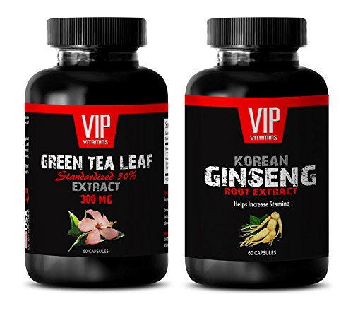 libido herbs - GREEN TEA - KOREAN GINSENG - COMBO - red maca root extract - (2 Bottles Combo)