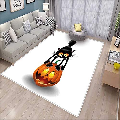 Halloween Girls Rooms Kids Rooms Nursery Decor Mats Black Cat on Pumpkin Drawing Spooky Cartoon Characters Halloween Humor Art Door Mat Indoors Orange Black -