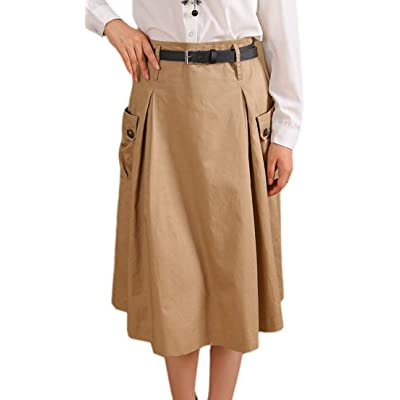BingSai - Falda - para Mujer Verde Caqui 36: Ropa y accesorios