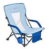#WEJOY Lightweight Compact Low Sling Folding Outdoor Lawn Concert Camping Beach Chair with Cup Holder Pocket Mesh Back & Armrest, Blue