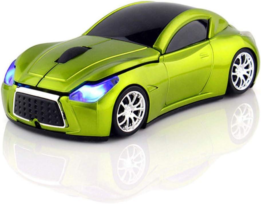 Ratón de Coche inalámbrico, 3D 1200DPI 2.4G Deportivo en Forma de Coche de Carreras óptico USB inalámbrico Mouse de Juego para PC computadora portátil Notebook Verde