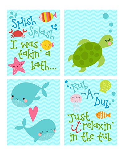 Dub Frame Dub Child (Silly Goose Gifts Splish Splash Takin' A Bath Ocean Themed Wall Art Prints (Set of 4) Bathroom)