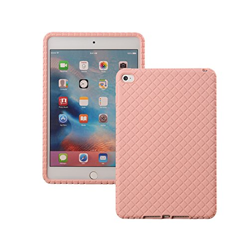 Veamor iPad Mini 4 Silicone Back Case Cover, Anti Slip Flexible Rubber Protective Skin Soft Bumper for Apple iPad Mini 4th Generation, Kids Friendly/Lightweight/Ultra Slim/Drop Proof/Shockproof (Pink)
