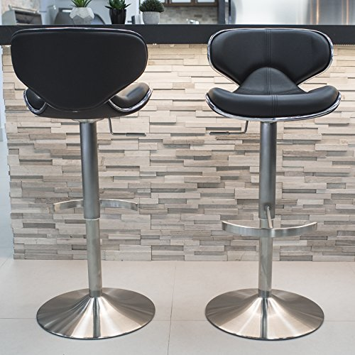 (Mix Brushed Stainless Steel Faux Leather Black Adjustable Height Swivel Bar Stool with Round Trumpet Base)