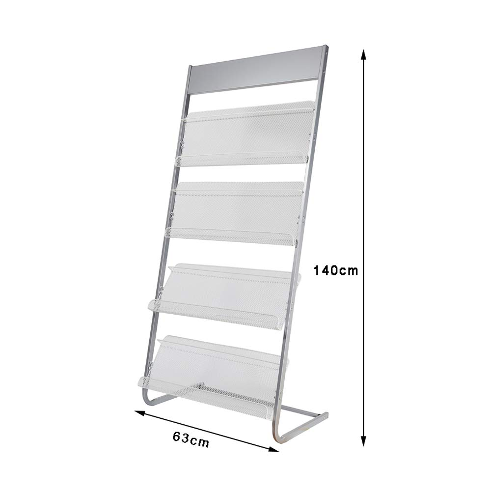 Magazine Rack Aluminum Alloy Brochure Display Rack Book Data Ladder Storage Rack - 4 Layers W63xH140cm by Amelie AI-Magazine organizer (Image #2)