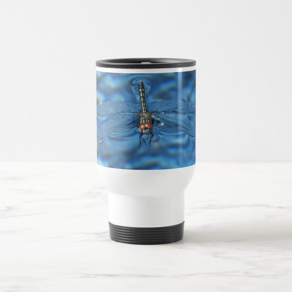 Zazzle Dragonfly in Spa Two-tone Coffee Mug, White Travel/Commuter Mug 15 oz
