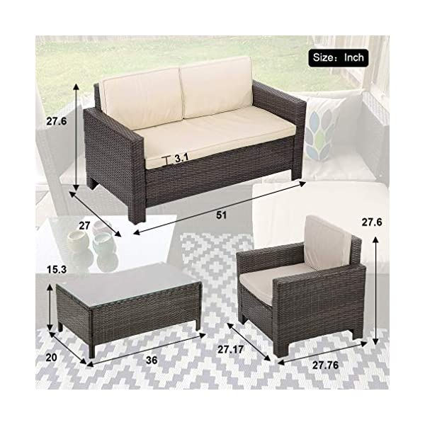 Outdoor Patio Furniture Set 4pcs Rattan Wicker Sofa Garden Conversation Set Cushioned With Coffee Table For Yard