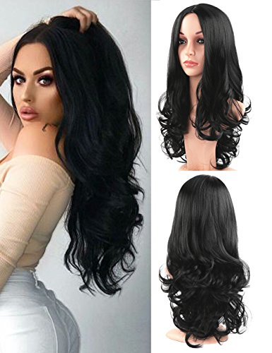 Fani Wigs Long Wavy Black Wigs for Women Body Wave Middle Part Heat Resistant Synthetic Full Wig Cosplay Wigs with Free Wig Cap