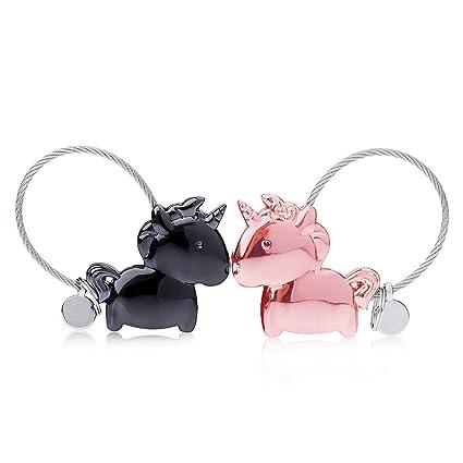 Llaveros amante 1 par Llaveros unicornio con boca magnética, aleación de zinc Llavero regalo para pareja amante, color negro y rosa dorado