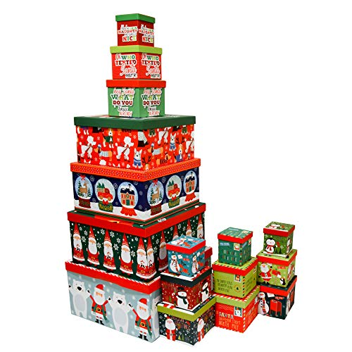 Christmas Boxes, 16 Count Nested, Assorted Large Set with Many Sizes and Prints, fits in one Box (Santa & Friends)