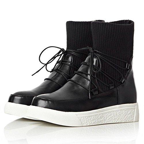 Femmes Zanpa Lacets Knit Moda a Ete Chaussures Bottes Plat dnqFBU