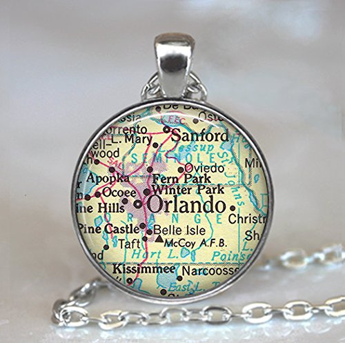 Orlando, Florida map pendant, Orlando map necklace, Orlando map pendant, Orlando necklace Orlando - Stores Florida Orlando