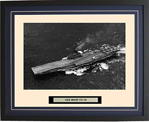 - Navy Emporium - USS Wasp CV-18 - Framed - Photo - Engraved Ship Name - Double Mat - Photograph - 16 X 20 - 12CV18Blue