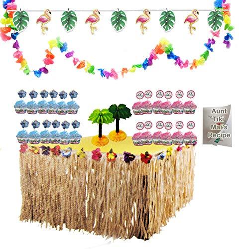 - Luau Party Tropical Hawaiian Decorations Set Raffia Grass Fringe Table Skirt Flowers Lei Garland Flamingo Leaves Banner Aloha Pineapple Cupcake Kit and Bonus Summer Recipe