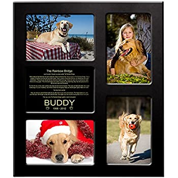 """Rainbow Bridge - Collage Picture Frame For Dogs - Brass Metal Plaqe Personalized With Name - """"Words Shine Like Gold"""" - 11.375"""" X 13.375"""" - Free Sympathy Card"""