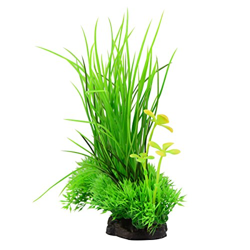 Image of Saim Plastic Artificial Aquarium Long Leaf Plant Decor Fish Tank Ornament Green Yellow 7.9