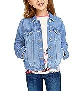 GRAPENT Girls' Basic Buttons Down Denim Jean Jacket Classic Outerwear 4-13 Years