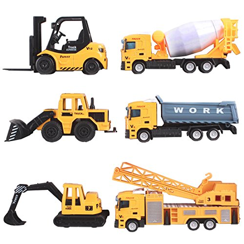 deAO Collectible Die-Cast Model Construction Trucks 1:64 Small Scale Toys Collection with Realistic Look (Pack of 6)